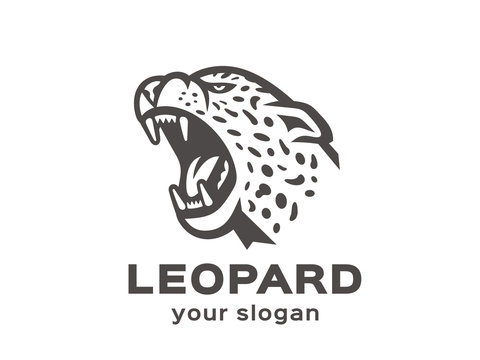 Leopard logo. Vector format, available for editing. Black and white variant. White background.