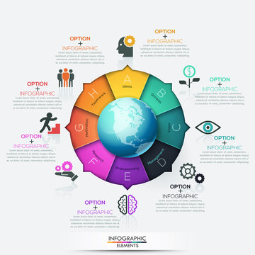 Round pointer with planet in center divided into 8 colorful pieces with letters and arrows pointing at icons, text boxes. Eight opportunities of global development. Infographic design template.