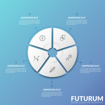 Round chart divided into 5 sectors with thin line icons inside and surrounded by text boxes against gradient background. Modern infographic design template. Vector illustration for web presentation.