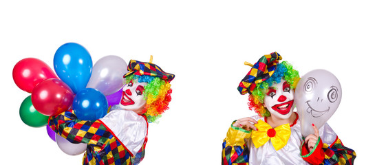 Funny male clown isolated on white  Wall mural