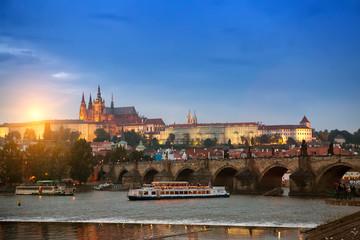 Poster Prague Beautiful Cityscape of Prague with Charles Bridge(Karluv Most) over Vltava river and Prague Castle, Czech Republic