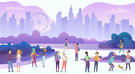 Group of people enjoying time, walking, communicating, have fun, date, talk, laugh in the evening city cartoon vector illustration.