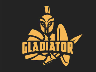 Gladiator logo. Vector format, available for editing. Gold version. Dark background.