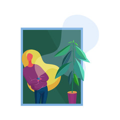 Fashionable woman staing near window and flowerpot at home and resting. Trendy minimalistic cartoon style vector illustration.