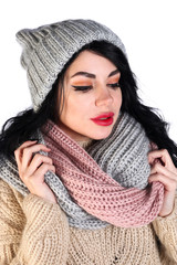 Woman in a warm clothes
