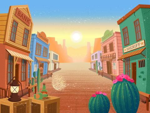 Western town.Vector illustration in cartoon style