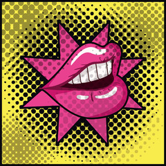 female mouth with star pop art style