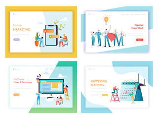 Web Development Social Media Marketing Concept Landing Page Template Set. Business Planning Team Work with Working Characters for Website Web Page Banner. Vector illustration