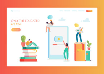 Online Education Concept Landing Page Template. Student Character Reading Book. Distance Education Training Courses Video Tutorial for Website, Web Page Banner. Vector illustration