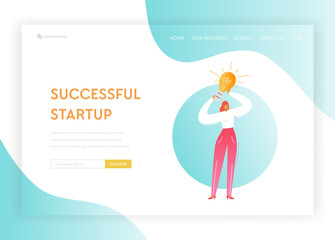 Creative Business Idea Startup Solutions Concept Landing Page Template. Businesswoman Character with Light Bulb Symbol for Website, Web Page, Banner. Vector illustration