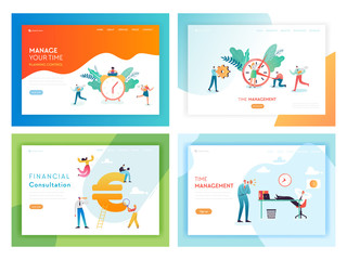 Business Deadline Overtime Concept Landing Page Template Set. Working Late People Characters Teamwork Financial Consulting for Website Web Page Banner. Vector illustration
