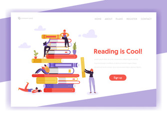 Online Education Concept Landing Page Template. Student Character Reading Book. Distance Education Training Courses for Website, Web Page Banner. Vector illustration