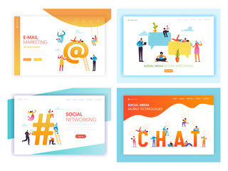 Social Media Networking Concept Landing Page Template Set. People Characters Chat in Social Network Communication Marketing for Website Web Page Banner. Vector illustration