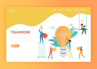 Business People Teamwork Concept Landing Page Template. Business Idea Innovation with Light Bulb and Characters Working Together for Website Web Page Banner. Vector illustration