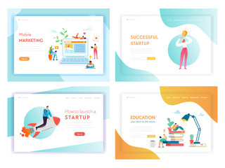Creative Idea Business Innovations Concept Landing Page Template Set. Brainstorming Creativity Process with People Characters and Light Bulb Symbol Website Web Page Banner. Vector illustration