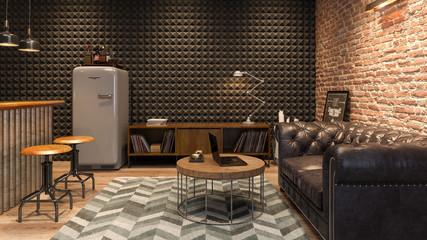 Fototapeta Interior of modern man living room with bar 3D rendering
