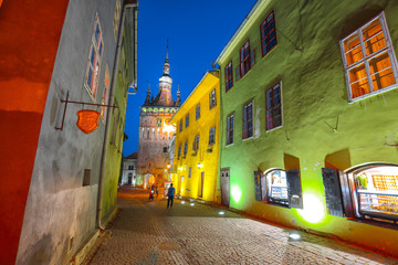 Night view of historic town Sighisoara
