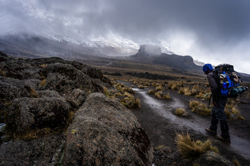 A walker on the way to the summit of Kilimanjaro, the roof of Africa