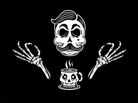 Skull with mug. Mug coffee skull illustration. Black background.