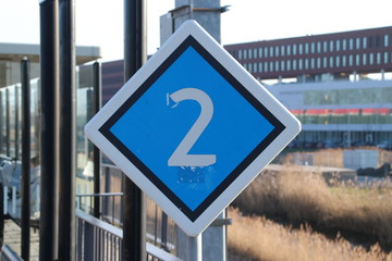 warning sign for driver where to stop based of number of wagons at train station Den Haag Ypenburg in The Hague in the Netherlands