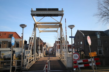 Turfsingel with Guldenbrug in the old city center of Gouda in the Netherlands