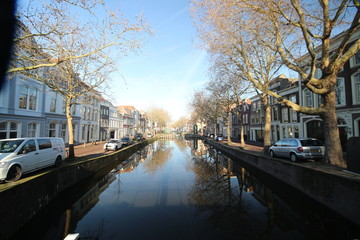 Inner city canal at the hoge and lage Gouwe in Gouda in the Netherlands