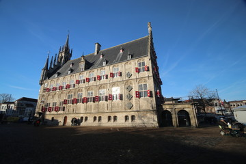 Ancient historical city hall in Gouda on the market square in the Netherlands