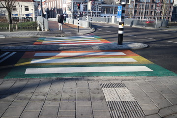 Diversity rainbow pedestrian crossing at the Fluwelensingel in downtown Gouda in the Netherlands