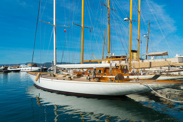 sailing yachts in St Tropez harbor