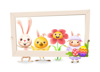 Easter bunny chicken flower and lamb celebrate Easter with social network photo frame - isolated on white background