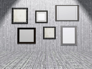3D collection of blank picture frames in a wooden room