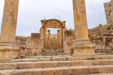 Ruins of Cathedral in the Roman city of Jerash, Jordan