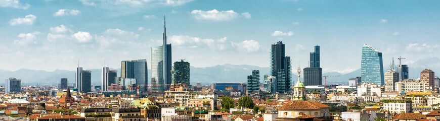 Fototapete - Panoramic view of Milan in summer from above, Italy