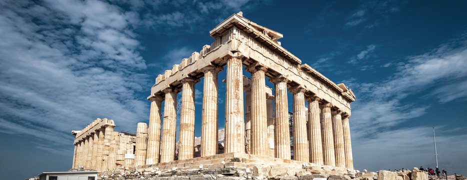 Parthenon on Acropolis of Athens, Greece. Panoramic view on sky background.