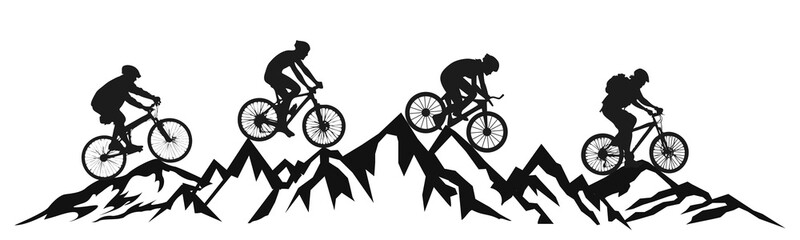 Group cyclist in the mountains – vector