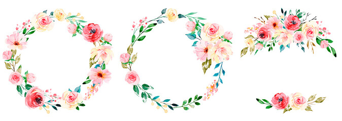 Wreaths with watercolor flowers, floral set for greeting card, invitation and other printing design. Isolated on white. Hand drawing. Wall mural