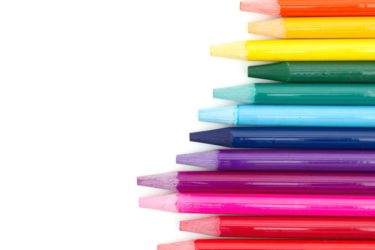 Colored watercolor pencils isolated over white