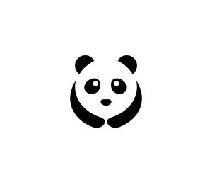 Cute panda logo template vector icon illustration design