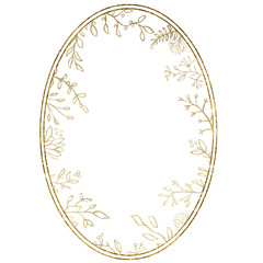 Watercolor frame with gold foliage and splashes on the white isolated background. Beautiful and elegant design.