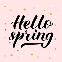 Hello spring calligraphy lettering isolated on light pink background with dots confetti. Inspirational seasonal quote typography poster. Hand written logo design. Easy to edit vector template for bann