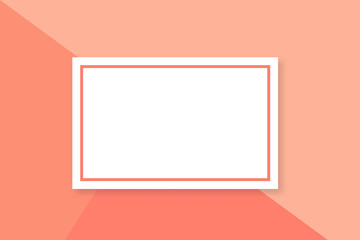 Living coral background with frame and copy space. Trendy color of the year 2019. Modern horizontal web banner layout with free text area. Easy to edit vector template for presentation, brochure, etc.