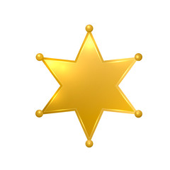 Realistic 3d sheriff star isolated on white background. Glossy gold police badge vector icon. Golden hexagonal star. Easy to edit template for your design projects.