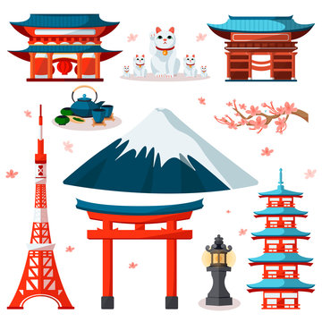Travel to Asia, Japan icons and isolated design elements set. Vector Japanese and Tokyo culture symbols and landmarks