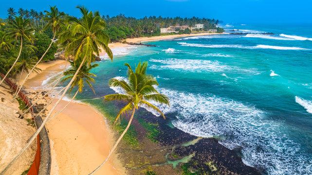 Aerial. Beach view in Unawatuna, Sri Lanka.