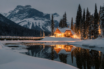 Poster Gray Emerald Lake Lodge is the only property on secluded Emerald Lake,surrounded by breathtaking Rocky Mountains,Yoho National Park,