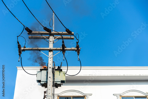 Power Pylon Overload Or Electric Short Circuit At Transformer On