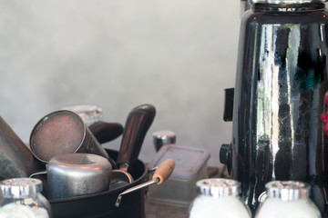 Close up of make coffee and tool