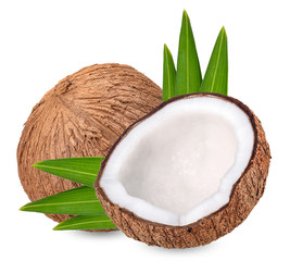 Coconut isolated on white with clipping path