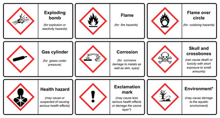 The Globally Harmonized System of Classification and Labeling of Chemicals vector on white background illustration Wall mural