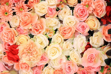 Colorful roses background, valentines's and wedding concept.